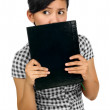Woman Hold Book — Stock Photo
