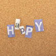 Stock Photo: Happy Word Made From Newspaper Letter