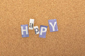 Happy Word Made From Newspaper Letter — Stock Photo