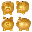 Set Of Golden Piggy Bank — Stock Photo