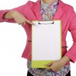 Portapapeles negocios mujer espera — Foto de Stock