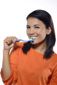 Woman Brushing Her Teeth — 图库照片