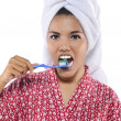 Woman Brushing Her Teeth — Stock Photo