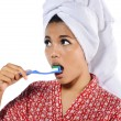 Woman Brushing Her Teeth — Stock Photo #30365625