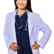 Stock Photo: Smiling medical woman doctor