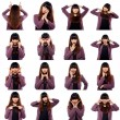 Set Of Asian Young Adult Emotional Faces — Stock Photo
