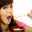 Asian Woman Eating Japanese Food — Stock Photo #33770277