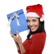 Beautiful Young Woman With Christmas Present — Stock Photo #35356705
