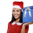 Beautiful Young Woman With Christmas Present — Stock Photo #35357953