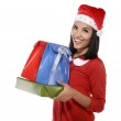 Beautiful Young Woman With Christmas Present — Stock Photo #35359863