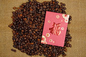Chinese Ang Pao And Coffee Bean — Stock Photo