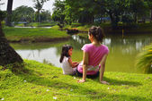Mother And Daughter Playing Outdoor — Stock Photo