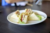 Delicious Club Sandwich And French Fries — Zdjęcie stockowe