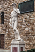 Copy of Michelangelo's David statue in Piazza della Signoria in Florence, Italy — Stock Photo