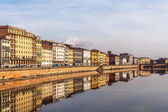 Pisa view from Arno river bridge — Stock Photo