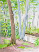 Waldbäume malerei — Stockfoto