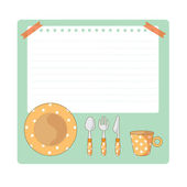 Tableware And Notepad Cartoon Illustration — Stock Vector