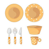 Tableware Objects Cartoon Illustration — Stock Vector