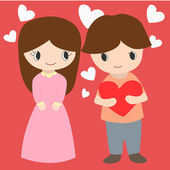 Cute Boy And Girl With Hearts Background For Valentine Day — Stock Vector