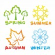 Colorful seasons icons - Stok Vektör