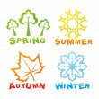 Stock Vector: Colorful seasons icons