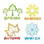 Icônes colorées de saisons — Vecteur