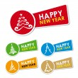 Stock Vector: Happy New Year stickers