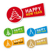 Happy New Year stickers — Stock Vector