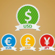 Stock Vector: Currency Symbols - dollar, euro, yen and pound