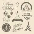 Christmas and New Year symbols and design elements — Stock Vector