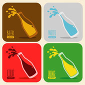 Vector set of retro drinks in a glass bottle — Stock Vector