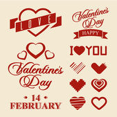 Valentine's Day symbols and design elements — Stock Vector