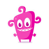 Happy pink monster — Stock Vector