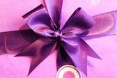 Purple satin ribbon, decoration element — Stock Photo