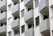 Building balconies in repetition — Stock Photo