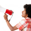 Afro man screaming with a megaphone - Stockfoto