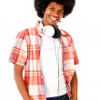 Cool black mwith headphones — Foto de stock #12536564