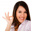 Woman with an ok sign — Stockfoto