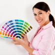 Woman paint house — Stockfoto