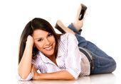 Woman lying on the floor — Stock Photo