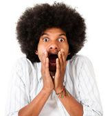 Shocked afro man — Stock Photo