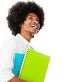 Gelukkig afro student — Stockfoto