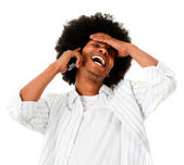 Afro man talking on the phone — Stock Photo