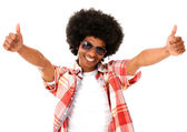 Afro man with thumbs up — Stock Photo