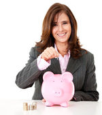 Business woman saving — Stock Photo