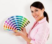 Woman paint house — Stock Photo
