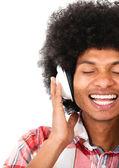 Black man with headphones — Stock Photo