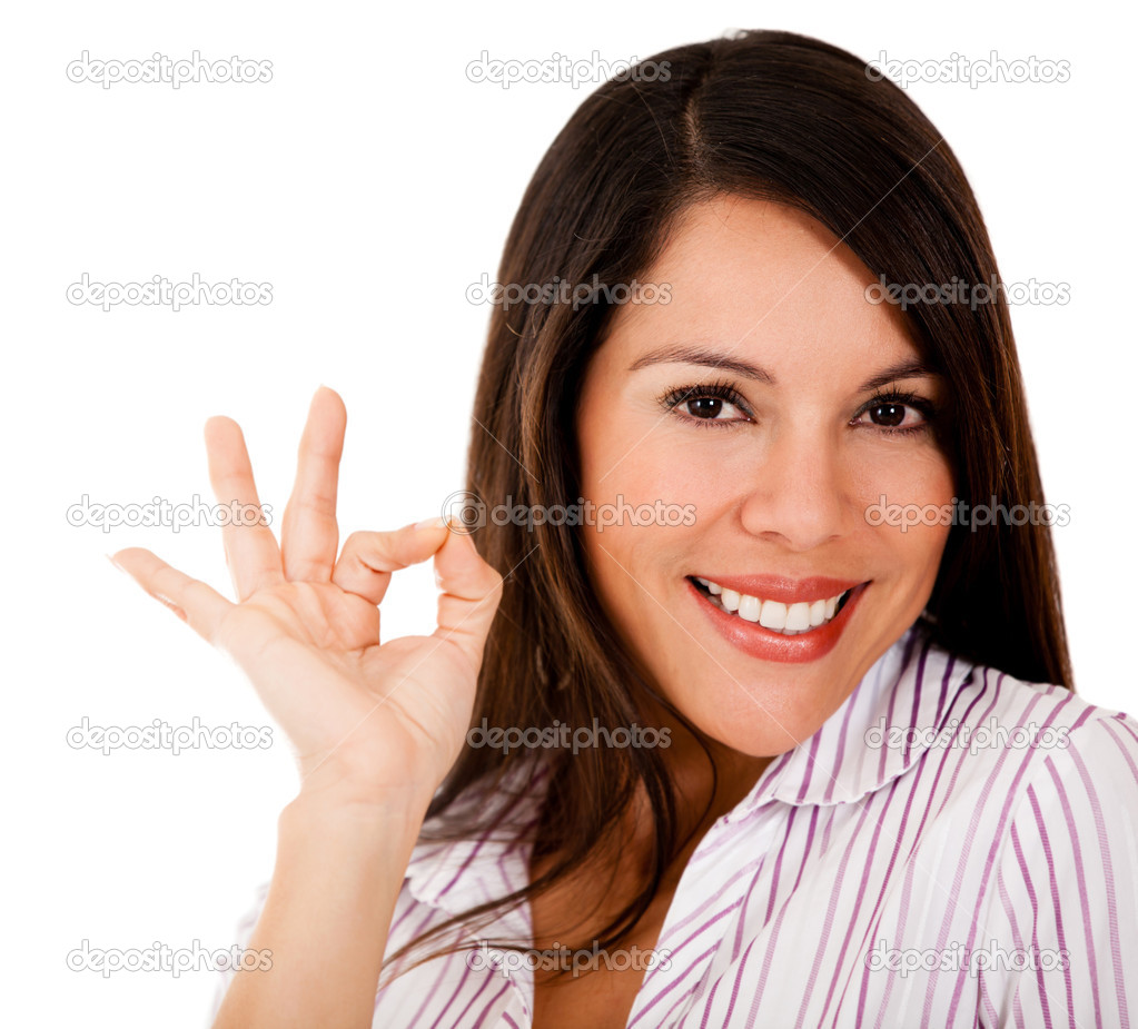 depositphotos 12536569 Woman with an ok sign Woman with an ok sign   isolated over a white background
