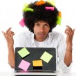 Black man multitasking - Stock Photo
