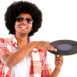 Afro man acting as DJ — Stock Photo
